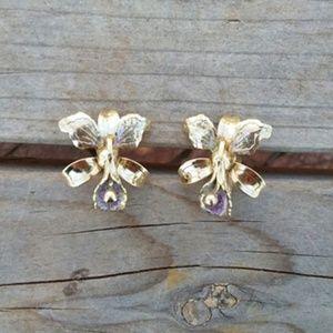 Vintage Lilac Flower Earrings on Screw Clip
